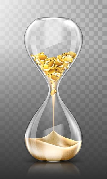 El tiempo es dinero, reloj de arena con monedas de oro y arena. vector gratuito