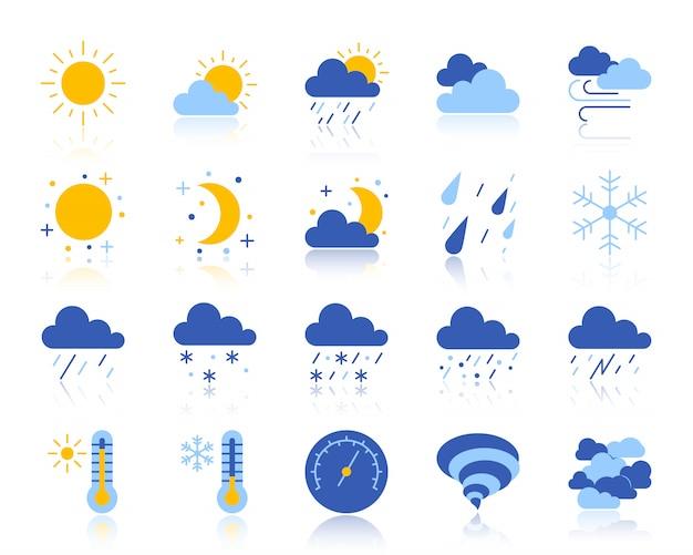 El tiempo, la meteorología, el conjunto de iconos planos de clima incluye sol, nubes, nieve, lluvia. Vector Premium