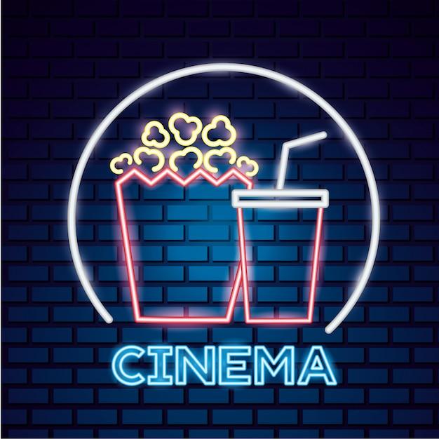 Tiempo de película letrero de neón vector gratuito