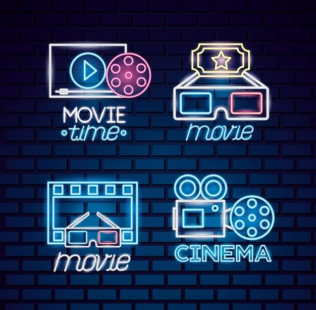 Tiempo de película de neón vector gratuito