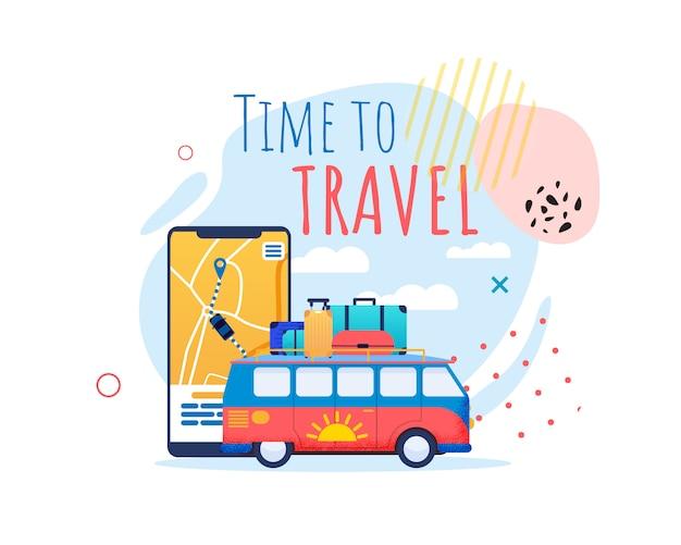Tiempo para viajar banner motivacional Vector Premium