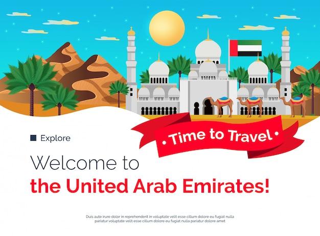 Tiempo para viajar emiratos árabes unidos banner colorido plano con montañas palmeras mezquita atracciones turísticas ilustración vector gratuito