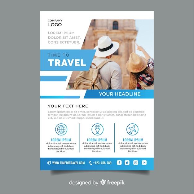 Tiempo para viajar plantilla azul con foto vector gratuito