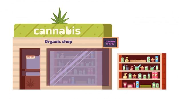 Tienda de cannabis, productos de marihuana en tienda ecológica vector gratuito