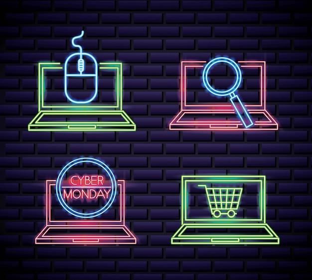 Tienda cibernética vector gratuito