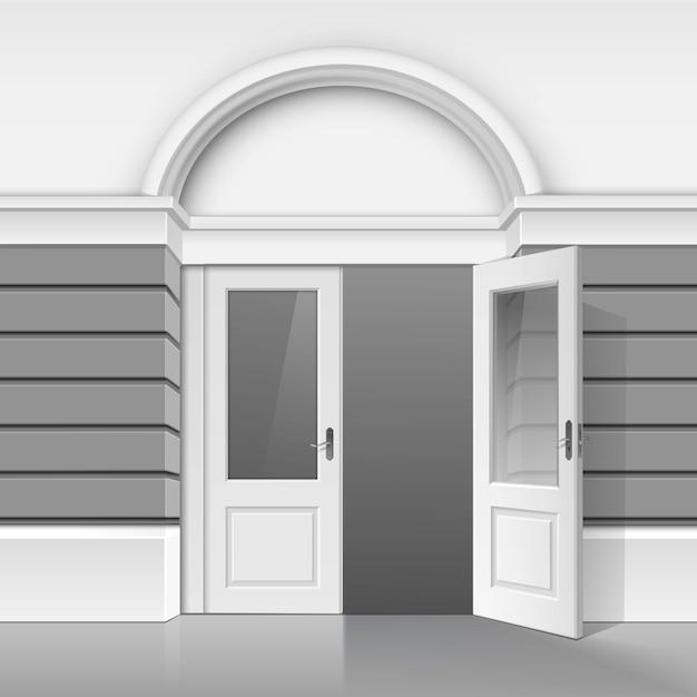 Tienda clásica museo boutique edificio frente de la tienda con puerta de vidrio frontal abierta Vector Premium