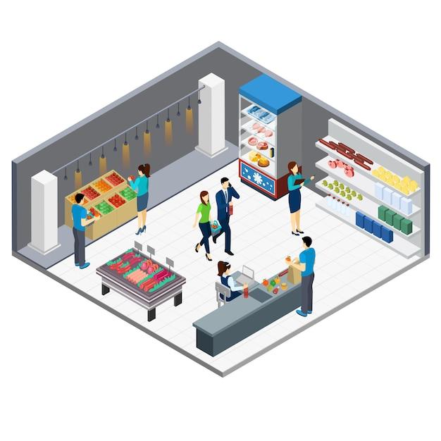 Tienda de comestibles isométrica interior vector gratuito