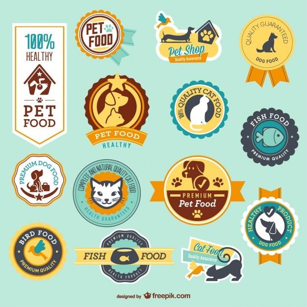 Tienda de mascotas insignias vectoriales Vector Gratis