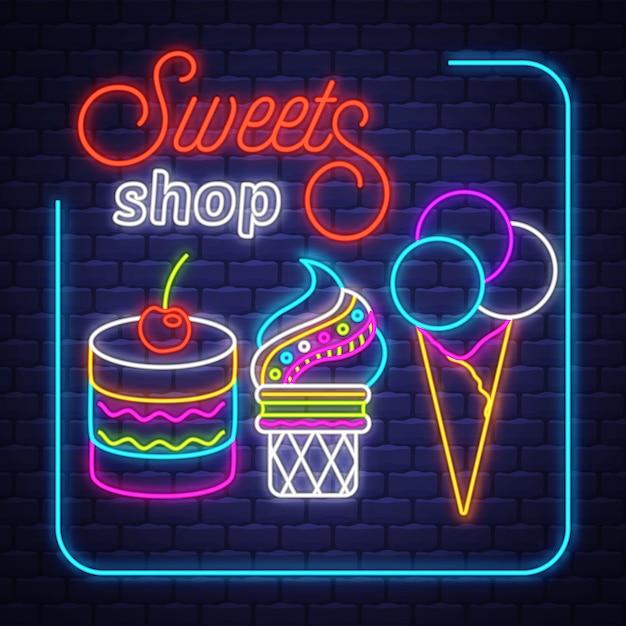 Tienda de dulces- vector de señal de neón. tienda de dulces - letrero de neón sobre fondo de pared de ladrillo Vector Premium