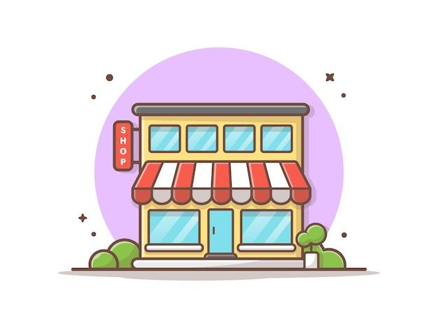 Tienda edificio vector icono ilustración. concepto de icono de edificio y punto de referencia Vector Premium