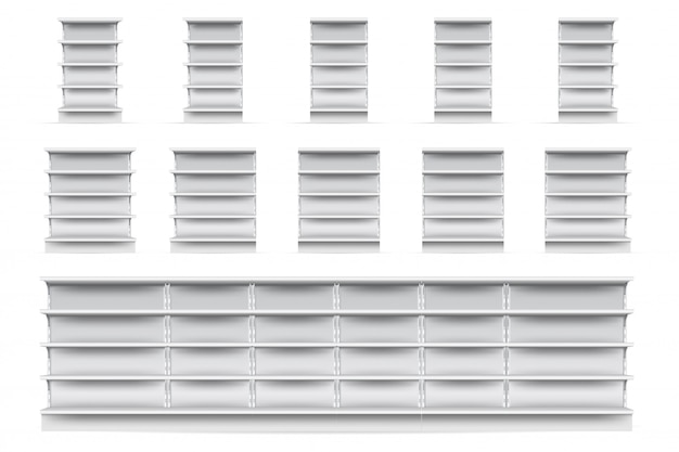 Tienda de estantes conjunto. tienda de supermercado vacía escaparate estantería colección de iconos. vista frontal de estantes de exhibición de tienda minorista en blanco blanco realista. concepto de mercado y negocio Vector Premium