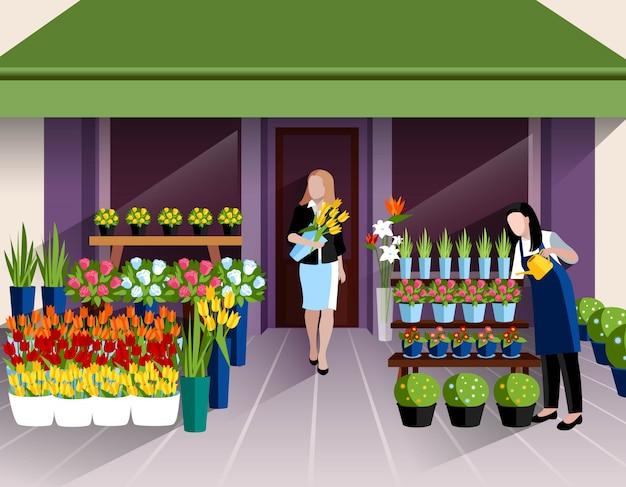 Tienda de flores vector gratuito