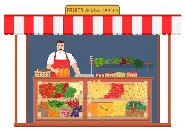 Tienda de frutas y verduras frescas. Vector Premium