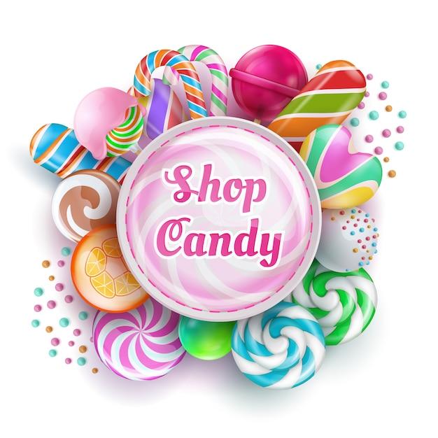 Tienda de golosinas con dulces dulces realistas, dulces, caramelo, piruletas arcoiris y algodón de azúcar. ilustración vectorial Vector Premium