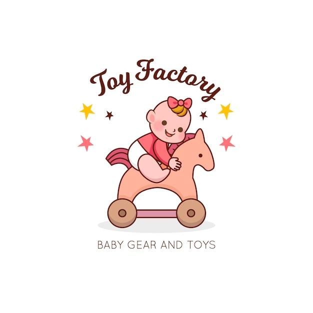 Tienda de juguetes con logo de bebé detallada vector gratuito