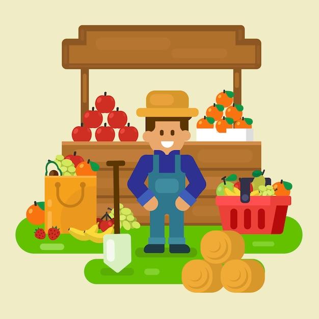 Tienda local, fruta fresca con ilustración comercial Vector Premium