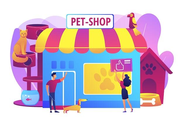 Tienda de mascotas, cuidado de perros. productos animales. gente comprando para sus mascotas. tienda de animales, los mejores suministros para animales, concepto de tienda electrónica de artículos para mascotas. ilustración aislada violeta vibrante brillante vector gratuito