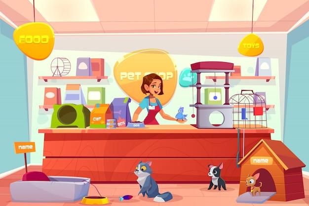 Tienda de mascotas moderna interior de dibujos animados vector gratuito
