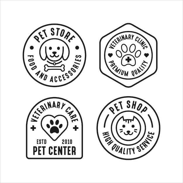 Tienda de mascotas set colección de logotipos Vector Premium