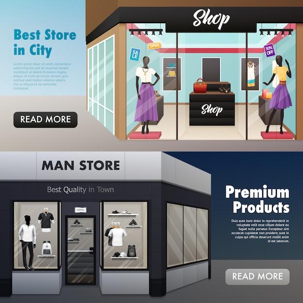 Tienda de moda front banners vector gratuito