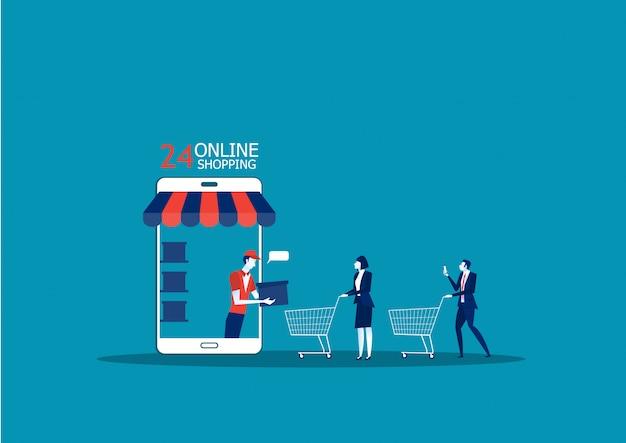 Tienda online de aplicaciones. ventas de comercio electrónico Vector Premium