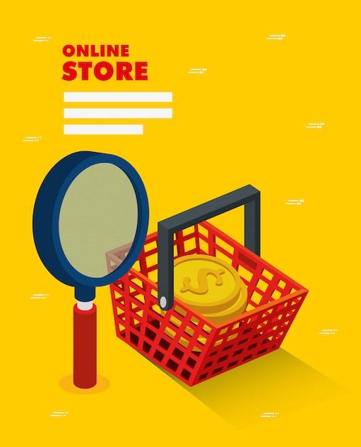Tienda online con cesta de compra Vector Premium