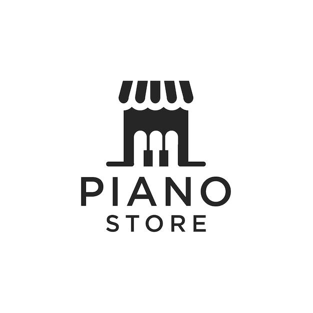 Tienda de pianos con logo Vector Premium