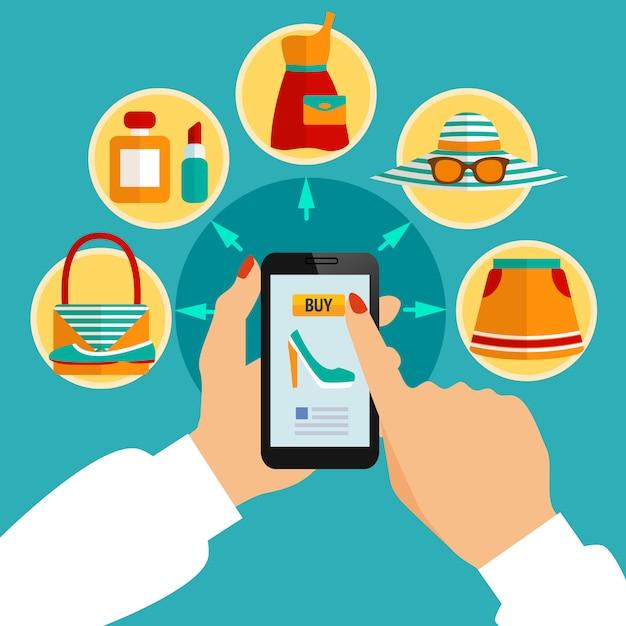 Tienda de ropa en línea aplicación móvil composición vector gratuito