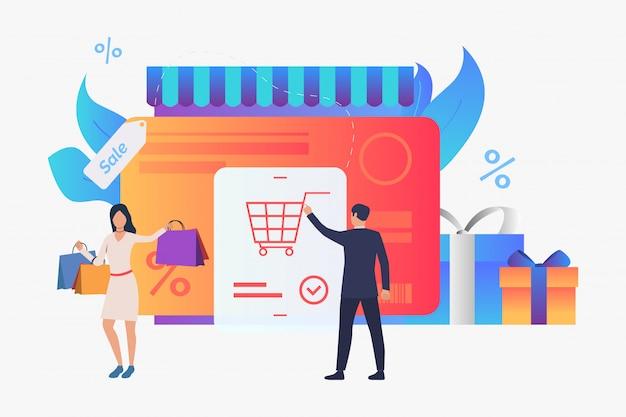 Tienda con tarjeta de crédito, cajas de regalo, ilustración compradores. vector gratuito