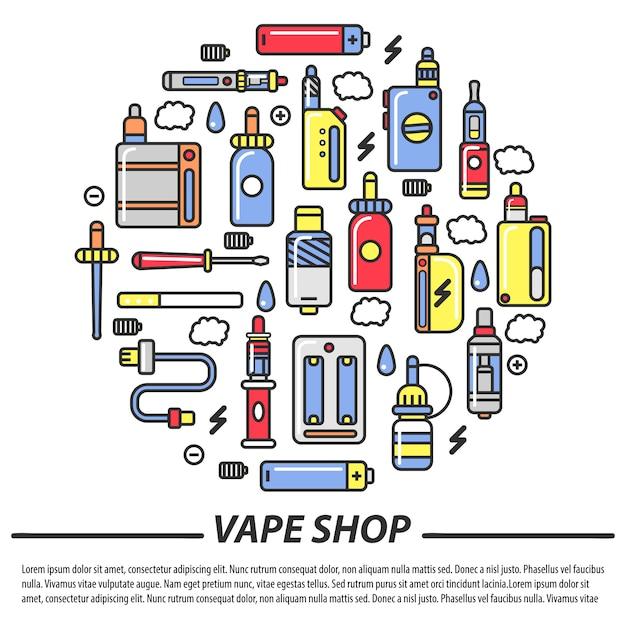 Tienda de vape y plantilla de cigarrillos electrónicos Vector Premium