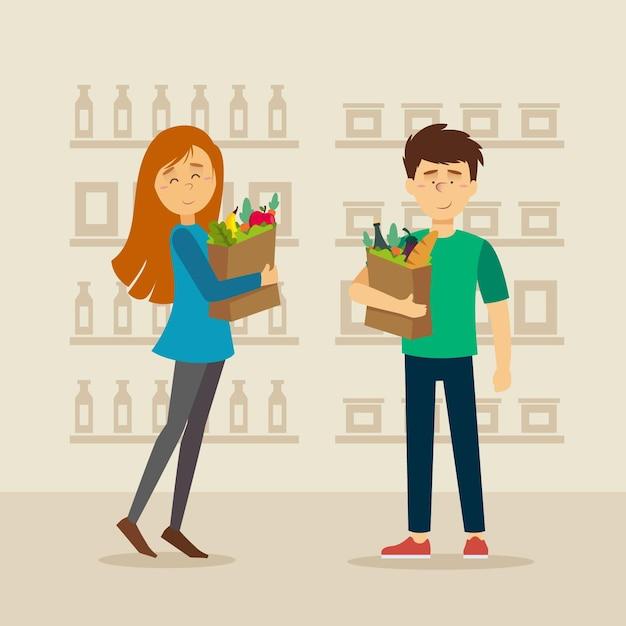 Tiendas de comestibles de diseño plano vector gratuito