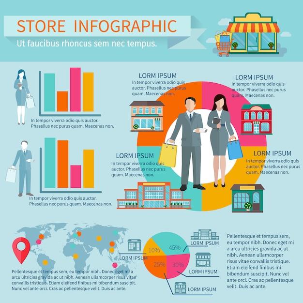Tiendas de edificios e infografía de compras con cifras porcentuales y diagramas. vector gratuito