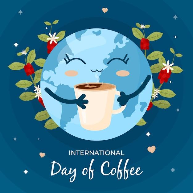 Tierra disfrutando de una taza de café concepto vector gratuito