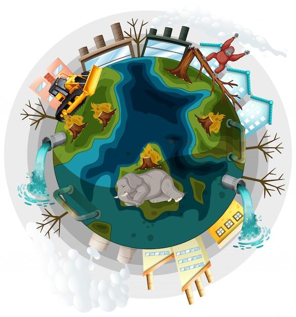 Tierra con problemas de deforestación y calentamiento global vector gratuito