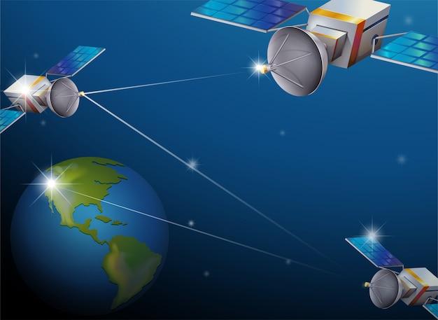 Tierra y satélites vector gratuito