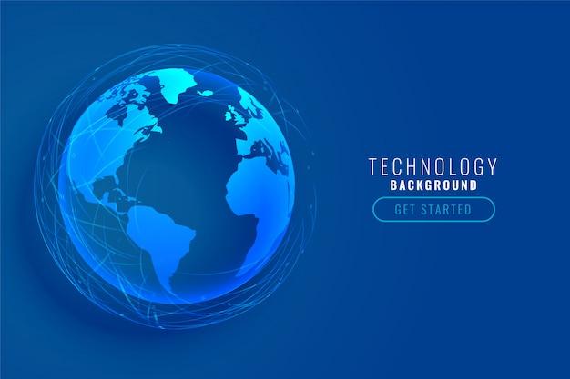 Tierra de tecnología con diseño de líneas de red global. vector gratuito