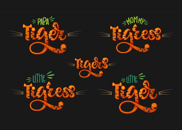 Tigers family set color hand draw calligraphyc script lettering text Vector Premium
