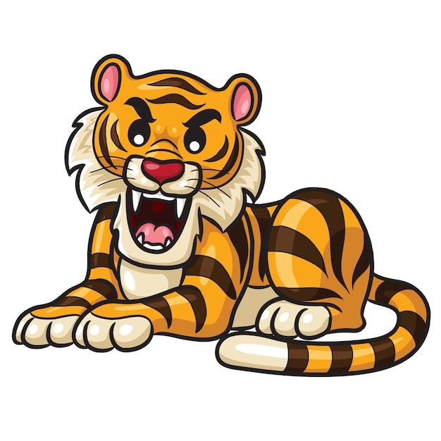 Tigre De Dibujos Animados Lindo Vector Premium