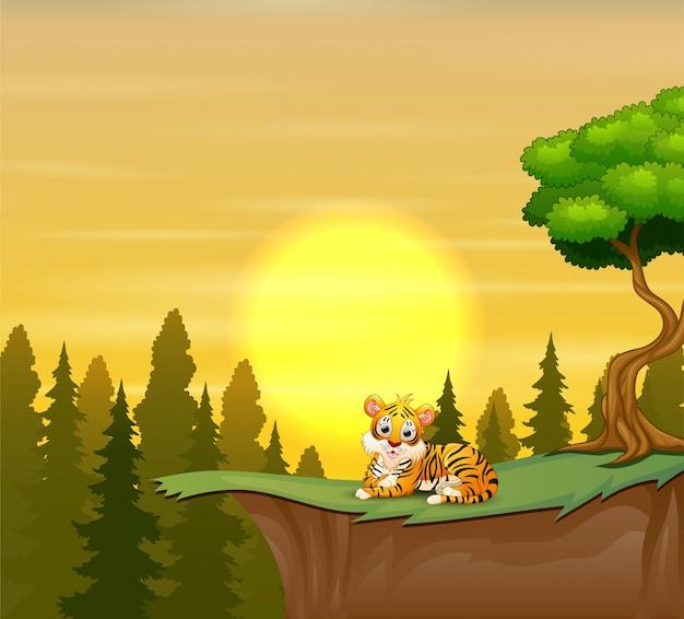 Tigre divertido sentado en el acantilado con una puesta de sol de belleza Vector Premium
