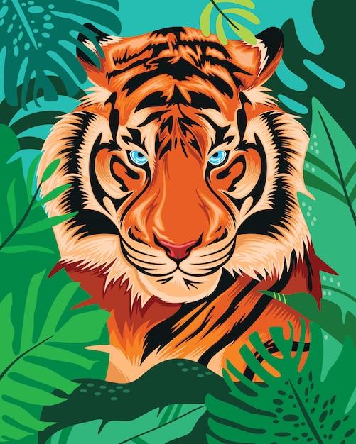 Tigre escondido en la selva tropical Vector Premium
