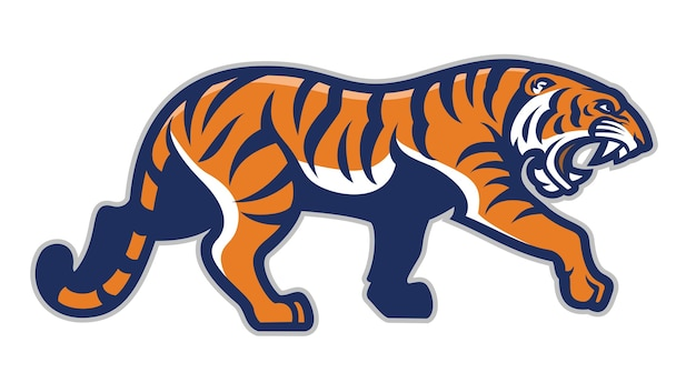 Tigre en estilo mascota deportiva aislado en blanco Vector Premium