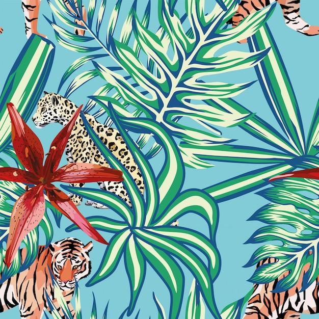 Tigre leopardo hojas tropicales lirio fondo transparente azul Vector Premium