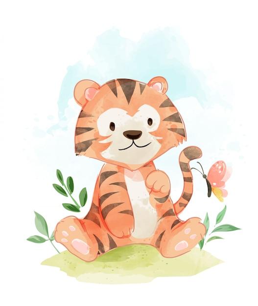 Tigre lindo en la ilustración de campo Vector Premium