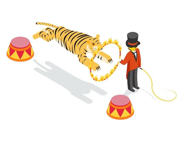 Tigre saltando a través del anillo. 3d isométrico plano. dispara y salta, muestra arena, rayas y círculos. vector gratuito