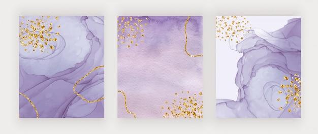 Tinta de alcohol púrpura y cubiertas de textura de acuarela con confeti dorado brillante Vector Premium