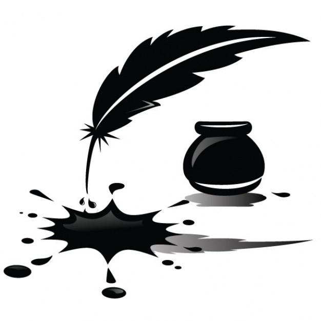 Tinta derramada y la ilustración de plumas Vector Gratis
