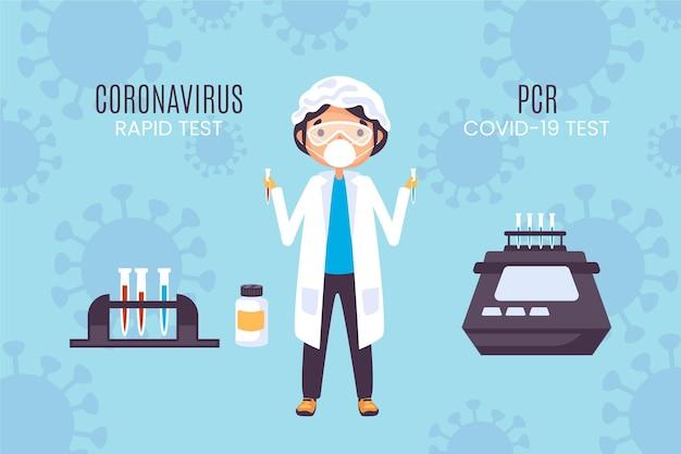 Tipo de concepto de prueba de coronavirus vector gratuito