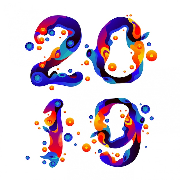 Tipografía año nuevo 2019 líquido y fluido colorido chispas Vector Premium