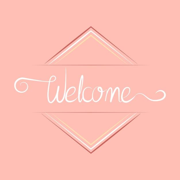 Tipografía de bienvenida con diseño de placa. vector gratuito