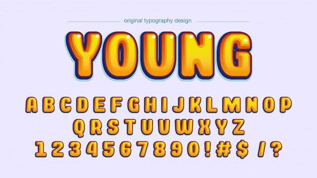 Tipografía bold yellow comics Vector Premium